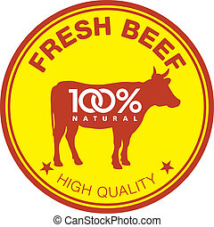 Fresh beef label - Label with a cow silhouette