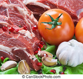 fresh beef meat with vegetables