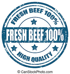Grunge rubber stamp with text Fresh Beef 100%,vector illustration