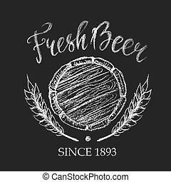 Fresh beer chalk badge - Fresh beer placard for brewery,...