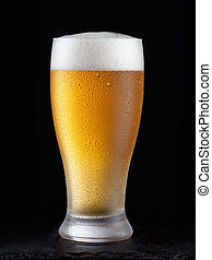 Fresh beer in glass on a black background.