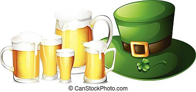 Fresh beer in glasses and green hat illustration