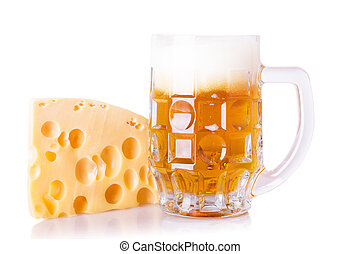 fresh beer with cheese