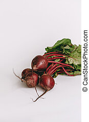 Fresh beetroot on white background. Close up.