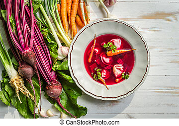 Fresh beetroot soup made ??of vegetables