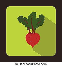 Fresh beetroot with leaves icon, flat style