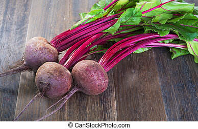 Fresh beetroots with leaves