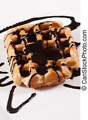Fresh Belgian waffle - Freshly baked Belgian waffle with...
