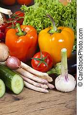 Fresh bell peppers and other vegetables