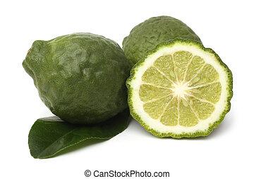 Fresh bergamot fruits with leaf