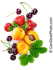 Fresh berries and fruits in still life top view