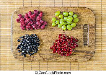 Fresh berries. Flat lay, top view.