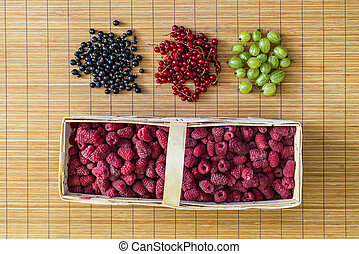 Fresh berries. Flat lay, top view.