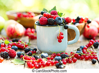 fresh berries in a cup
