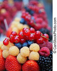 Fresh berries include sweet strawberry, raspberry, blueberry, blackberry