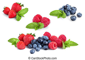 Fresh Berries Isolated on the White Background. Ripe Sweet Strawberry, Raspberry, Blueberry