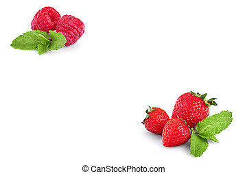Fresh Berries Isolated on the White Background. Sweet Strawberry and  Raspberry
