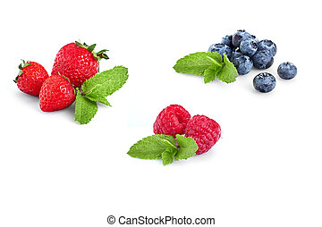 Fresh Berries Isolated on the White Background. Sweet Strawberry, Raspberry, Blueberry