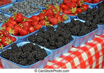 Fresh berrries at market