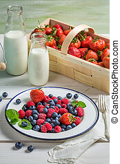 Fresh berry fruits with milk