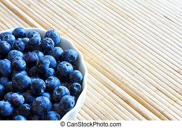 Fresh bilberries - Fresh picked organic blueberries in a...