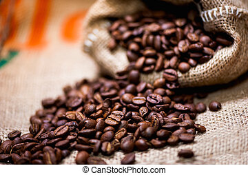 fresh bio aromatic coffee beans. imported in vintage cloth...