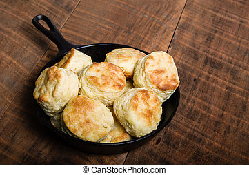 Fresh biscuits baked in a cast iron skillet