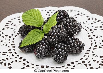Fresh blackberry with leaf