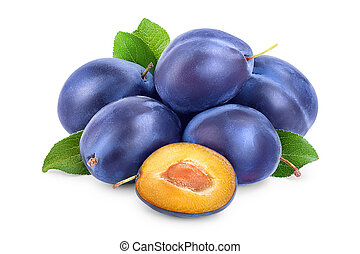 fresh blue plum and half with leaves isolated on white background
