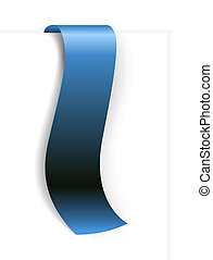 Fresh blue ribbon - bookmark with a white background