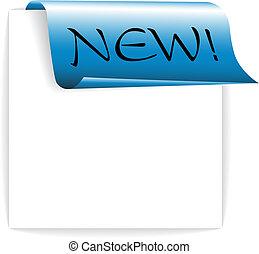 Fresh blue ribbon / paper - bookmark