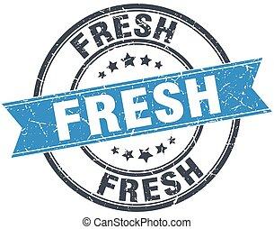 fresh blue round grunge vintage ribbon stamp