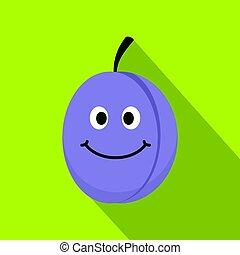 Fresh blue smiling plum icon, flat style