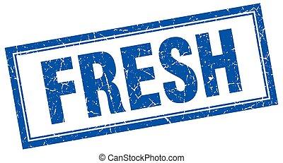 fresh blue square grunge stamp on white