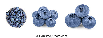 Fresh Blueberries collection  isolated on white background. Wild orest berries