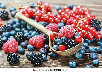 fresh blueberries, currants, blackberries, cranberries and...