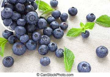 Fresh blueberries with mint