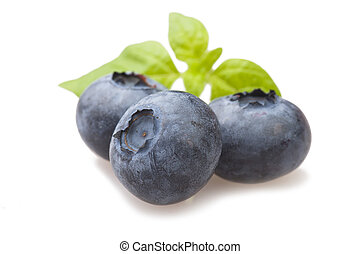 Fresh Blueberry close up on the white