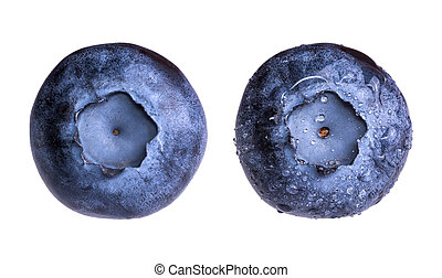 Fresh blueberry with water drops isolated on white background