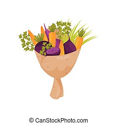 Fresh bouquet made of beetroot, onion, parsley twigs and carrot. Ripe vegetables wrapped in paper. Flat vector icon