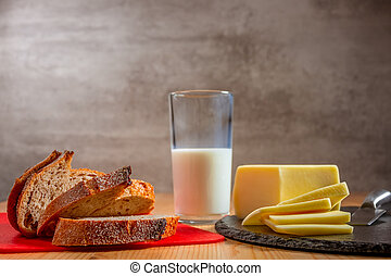 Fresh Bread, Cheese and a Glass of Milk