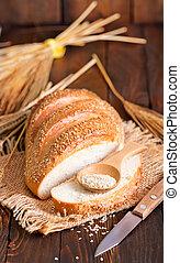 fresh bread, fresh bread on a tabler