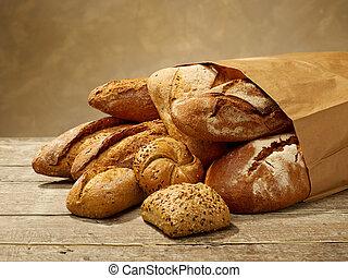 Fresh bread in a bag