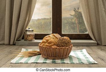 Fresh bread in a basket