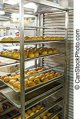 Fresh Bread in Industrial Kitchen