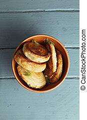 Fresh bread rolls overhead