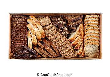 Fresh Bread Slice Mix Carton Delivery Box Top View