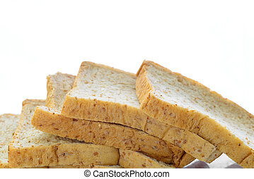 fresh bread slices isolated on white background