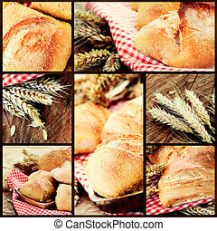 Fresh bread - Freshly baked bread variety on wooden...