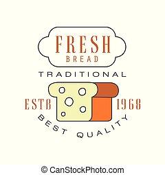 Fresh bread, traditional best quality logo, estd 1968, bakery badge retro food label design vector Illustration